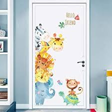 Amazon Com Cartoon Animals Wall Stickers Diy Children Mural Decals For Kids Rooms Baby Bedroom Wardrobe Door Decoration Home Improvement