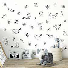 Amazon Com Wall Vinyl Woodland Decal 40 Pcs Nursery Decor Original Artist Design Adhesive Forest Stickers For Kids Baby Nordic Fox Deer Owl Birds Bee Raccoon Flowers And Plants Bedroom Decoration Arts Crafts