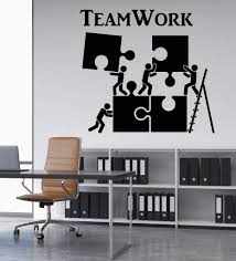 Amazon Com Melissalove Vinyl Wall Decal Teamwork Motivation Decor For Office Worker Puzzle Wall Stickers Modern Interior Art Wall Decoration Hot Lc520 Black Home Kitchen