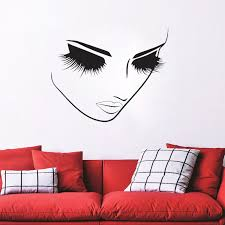 Vinyl Wall Decals Beauty Hair Salon Beautiful Stickers Spa Decor Lashes Makeup Wall Sticker For Gilrs Bedroom Home Window Decor Leather Bag