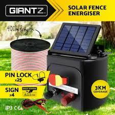 Giantz 3km Solar Electric Fence Energiser Energizer Battery Charger Cattle Horse 9350062020326 Ebay