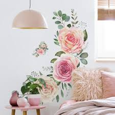 Roommates Pink Roses Peel And Stick Giant Wall Decals Rmk4305slm The Home Depot