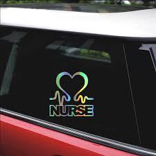 14 14cm Nurse Heart Loving Car Sticker Funny Reflective Vinyl Stickers Decals Car Styling Car Window Bumper Sticker Accessories Car Stickers Aliexpress