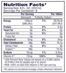 welchs g juice nutrition label