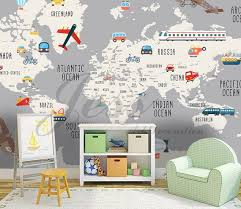 3d Nursery Kids Room Vehicle World Map Removable Wallpaper Etsy