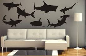 Sale Vinyl Wall Swimming Sharks Decals Great White Sharks Thresher Sharks Reef Sharks And Hammerheads Decals Ran Home Decor Vinyl Decals Home Decor Decals