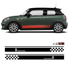 2pcs Pair Car Side Door Skirt Sticker Decals Vinyl Car Decal Accessories Styling For Mini Cooper R50 R52 R53 R56 R57 R58 R59 F55 F56 F54 F60 R60 R61 L R Wish