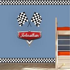 Checkered Flag Border Decal Sports Wall Decal Murals Race Track Wall Stickers Primedecals