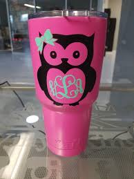 Owl Monogram Beautiful Cup Vinyl Decal Sticker For Tumbler Etsy