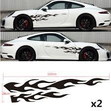 2x Car Racing 48 Black Flame Graphics Side Body Vinyl Decal Stickers Universal Ebay