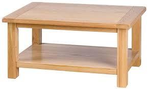 oak rectangular coffee table with shelf
