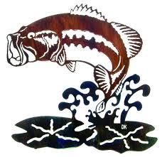 22 Jumping Bass Fish Metal Wall Art By Daniel Kirchner Fishing Wall Decor Lazart