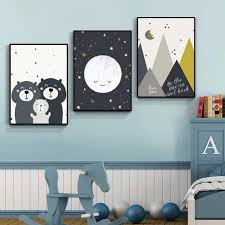 2020 Bears Family Baby Animal Art Print Posters Star Moon Nursery Canvas Painting Mountain Nordic Wall Art Pictures Kids Room Decor From Haloqueen 3 13 Dhgate Com