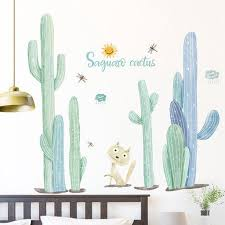 Cute Kitty Cat With Cactus Wall Sticker Green And Blue Plant Natural Wall Decal Natural Botany Living Room Wall Decor Greenery Peel Stick Thefuns On Artfire