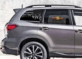 Product Subaru Forester Usa Flag W Pines Windshield Decals Stickers Fits 2014 2018 Windows Turbo 2 0