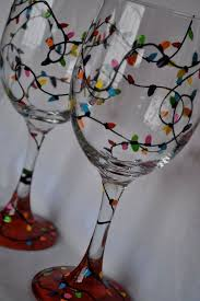 stunning hand painted wine glasses