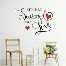 Amazon Com Picniva This Kitchen Is Seasoned With Love Wall Quote Sticker Home Kitchen