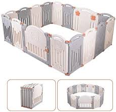 Baby Playpen 16 Panel Foldable Activity Center Safety Playard With Lock Door Kid S Fence Indoor Outdoor For Children 10 Months 6 Years Old Free Installation Double Layer Clasp Amazon Co Uk Baby