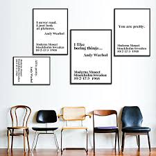 modern nordic black white mini st andy warhol life quotes