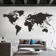 World Map Wall Decal Big Global Vinyl Office Inspiration Room Mural Decor Large Ebay Map Wall Decal Wall Stickers Living Room Map Wall Decor