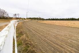 Premium Photo Empty Race Track For Racing Horses Sand Track And White Fence