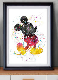 disney mickey mouse watercolor art