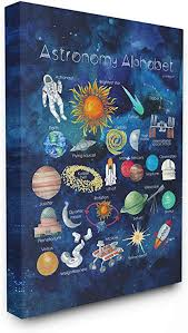 Amazon Com The Kids Room By Stupell Watercolor Blue Space Astronomy Alphabet With Astronaut And Planets Stretched Canvas Wall Art 30x40 Multi Color Home Kitchen