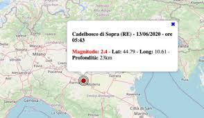 Terremoto oggi in Emilia Romagna, sabato 13 giugno 2020: scossa M 2.4 in  provincia di Reggio Emilia. Dati INGV - Centro Meteo Italiano