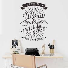 Never Stop Exploring Motivational Quote Wall Sticker Vinyl Wall Decal For Kids Baby Room Nursery Quote Saying Words Phrases Wall Stickers Aliexpress