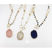 oval druzy stone long necklace
