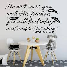 Psalm 91 4 Bible Verse Quote Wall Sticker Bedroom Kids Room Feather Wing Family Love Quote Wall Decal Nursery Vinyl Decor Wall Stickers Aliexpress