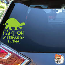 Amazon Com Caution Will Brake For Turtles Vinyl Die Cut Decal Sticker For Car Laptop Etc Handmade