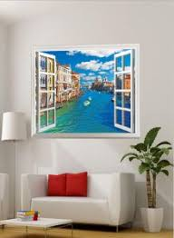 Fake Window Wall Decal Fatheads Stickers For Wall Faux Windows For Walls Cubicle Decorations Decor Tropical Wallpaper Ocean Town Murals For Walls Window Mural Wall Posters For Bedroom Wall Clings Buy