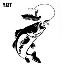 Yjzt 12 3cm 17 1cm Interesting Fishing Fisherman Hobby Fish Boat Car S Vango Decals