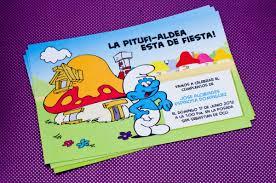 Invitaciones Con El Tema De Los Pitufos Cumpleanos De Jose