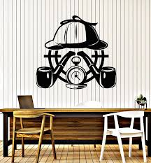 Vinyl Wall Decal Detective Agency Story Smoking Pipe Target Stickers M Wallstickers4you