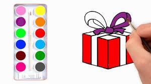 vẽ và tô màu hộp quà - YouTube