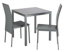 lido glass dining table 2 grey chairs