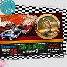 Invitacion De Cumpleanos De Hot Wheels Editable Con Archivo