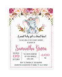 Elephant Floral Boho Baby Shower Invitation Printable Crear