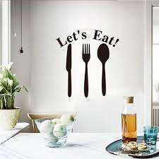 Lets Eat Spoon Fork Wall Sticker Self Adhesive Pvc Mobile Creative Wall Affixed Window Kitchen Dining Room Decor Wallpaper Flower Wall Decal Flower Wall Decals From Qian002 34 64 Dhgate Com