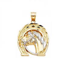 14k solid yellow white gold horse head