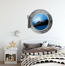 Stick It Graphix Submarine 2 Porthole Window Wall Decal Removable Sea Ocean Decor