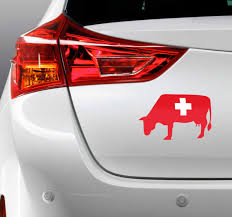 Cow Swiss Flag Car Sticker Tenstickers