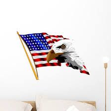 American Flag And Eagle Wall Decal Wallmonkeys Com