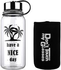 com glass water bottle 32 oz