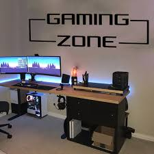 Large Gaming Zone Gamer Wall Sticker Playroom Kids Room Video Game Quote Wall Decal Bedroom Vinyl Home Decor Wall Stickers Aliexpress