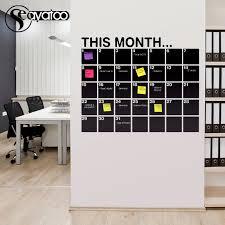 This Month Calendar Erasable Chalkboard Blackboard Vinyl Wall Decal Sticker Office Monthly Planner 58x72cm Wall Decals Stickers Chalkboard Blackboardvinyl Wall Aliexpress