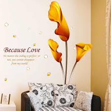 new fashion yellow bloom flower common callalily wall stickers