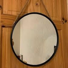 round wall mirror black porthole rope